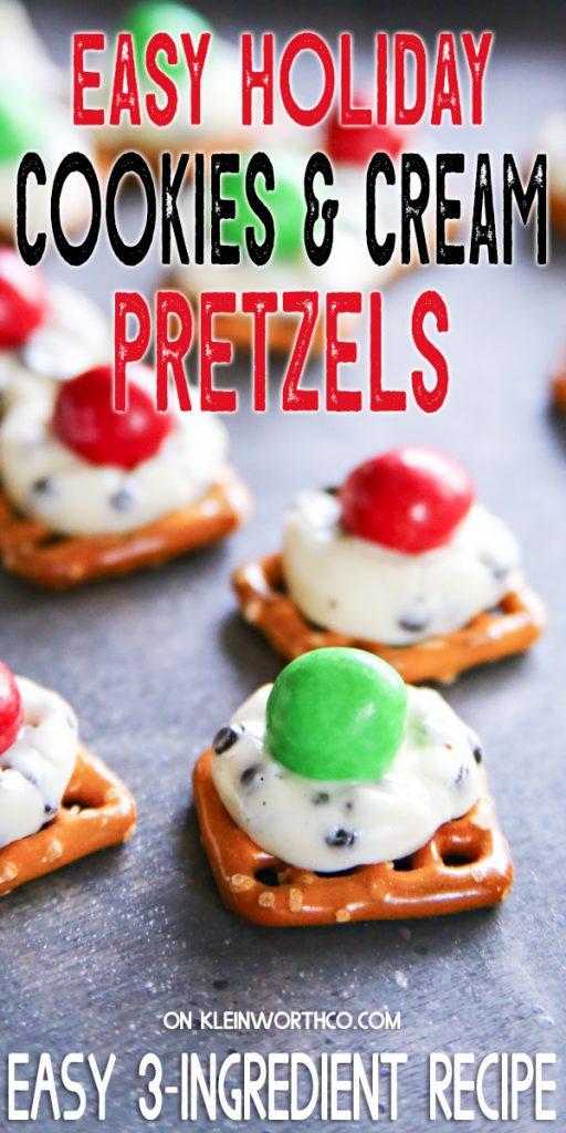 Easy Holiday Cookies & Cream Pretzels