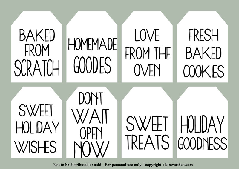 food gifts - gift tags