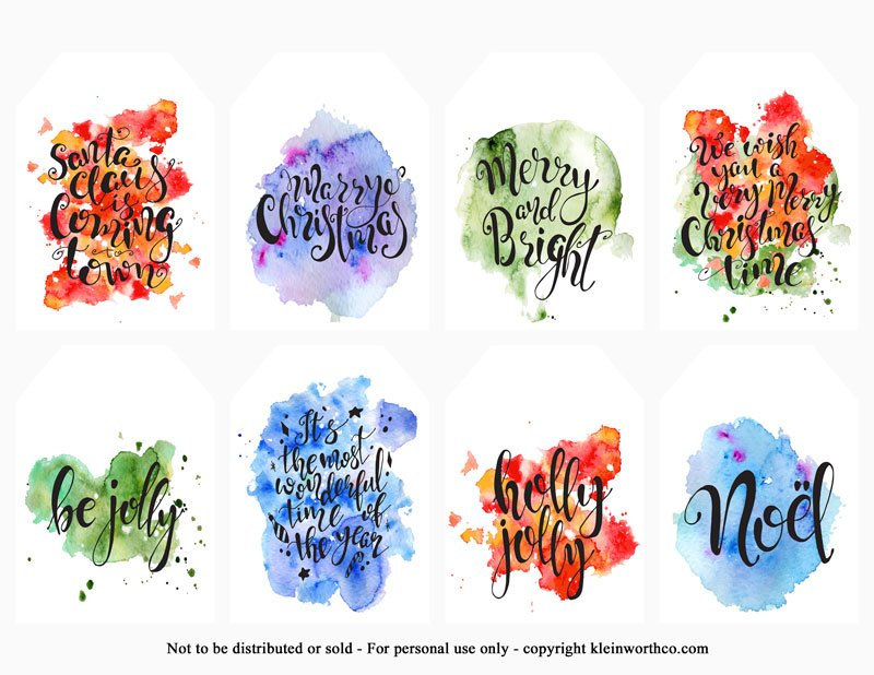 hand lettered watercolor splash tags