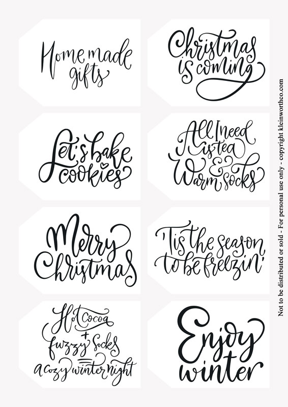 hand lettered winter phrases - tags