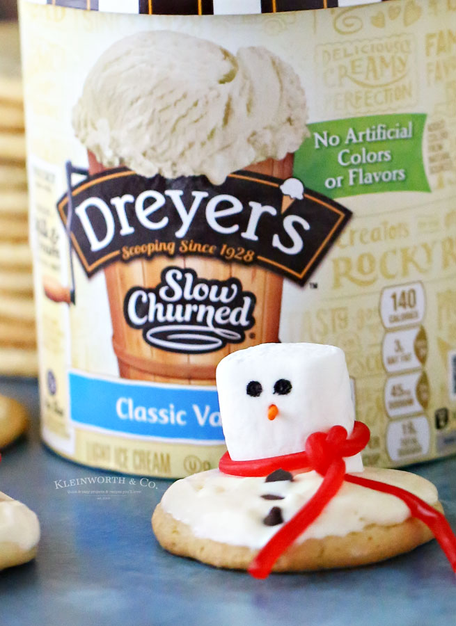 Holiday Snowman Cookies with Ice Cream