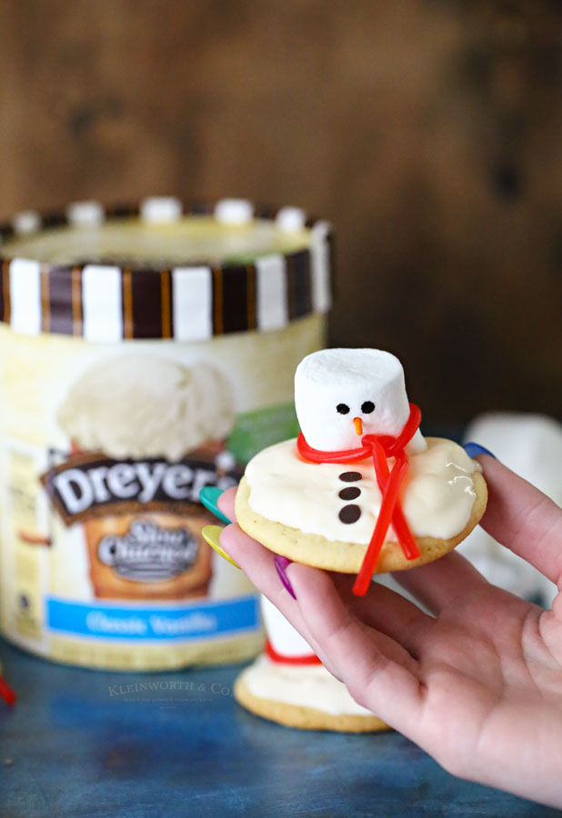 Melting Snowman Ice Cream Cookies