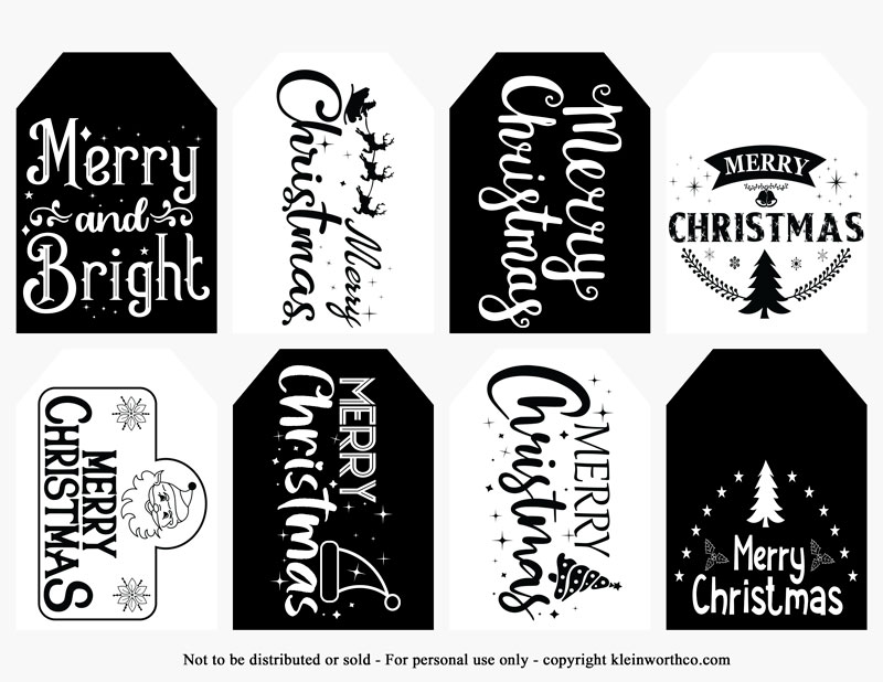 Merry Christmas black and white gift tags