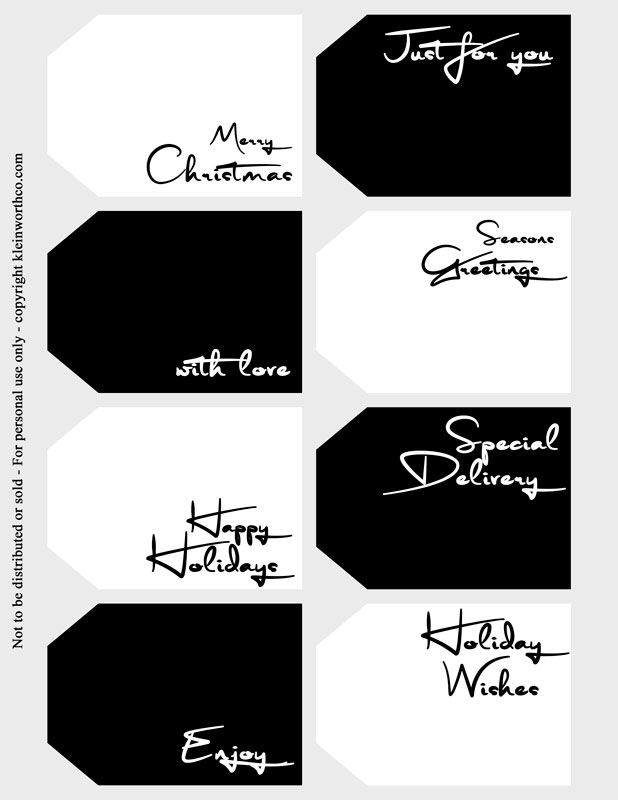 modern font black and white gift tags
