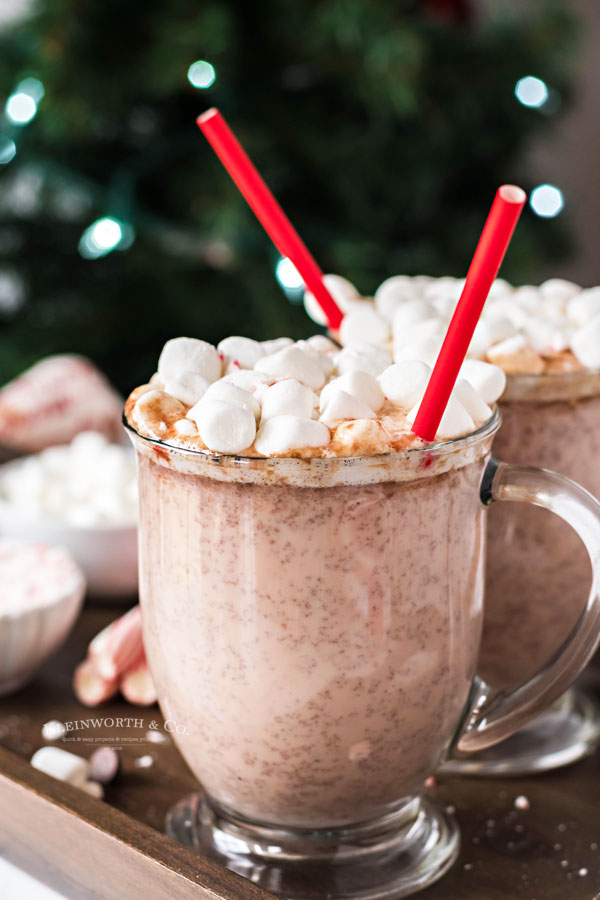 Peppermint Hot Chocolate with marshmallows