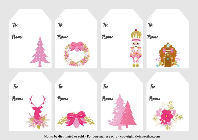 pink vintage gift tags