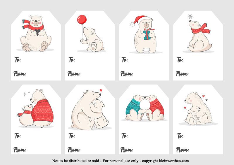polar bear gift tags