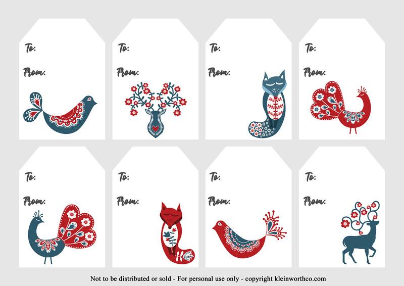 Scandinavian animals - gift tags