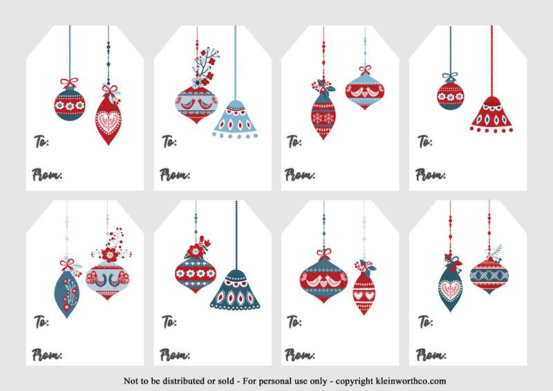 Scandinavian Ornaments - gift tags printable