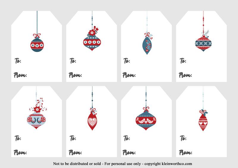 Scandinavian Ornaments - gift tags