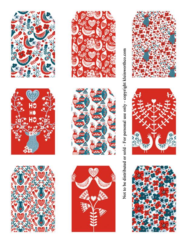 Scandinavian Patterns - gift tags
