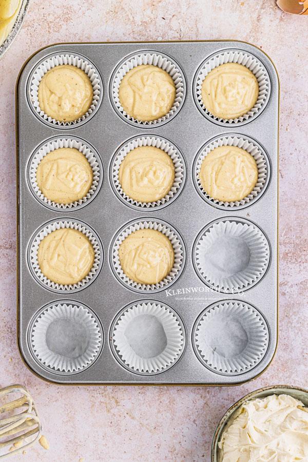 unbaked eggnog cupcakes in pan