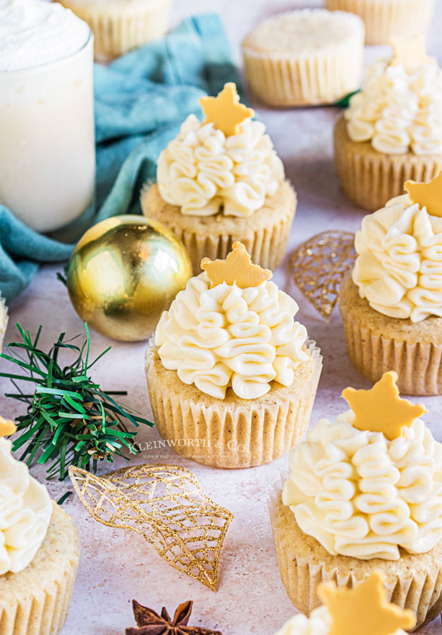 Spiced Eggnog Cupcakes with Eggnog Frosting for Thanksgiving