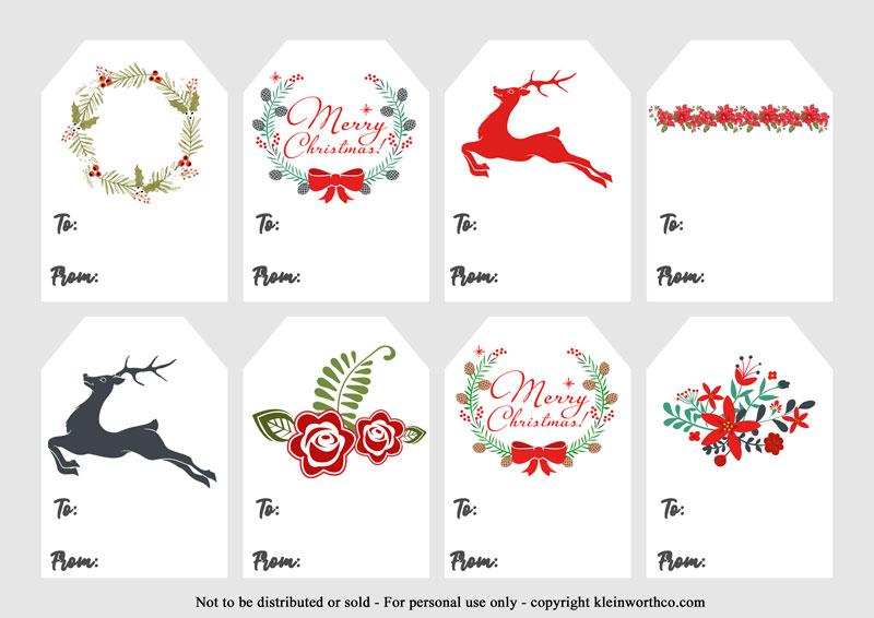 Traditional- FREE Christmas Gift Tags Printable