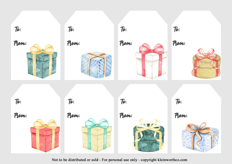Watercolor Presents gift tags