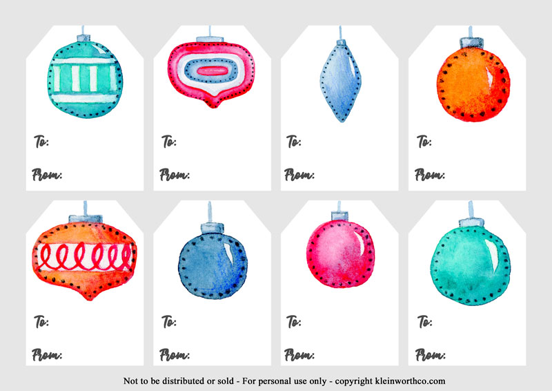 Watercolor Ornaments Gift Tags