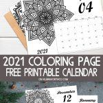 2021 Mandala Coloring Page Calendar Free Printable