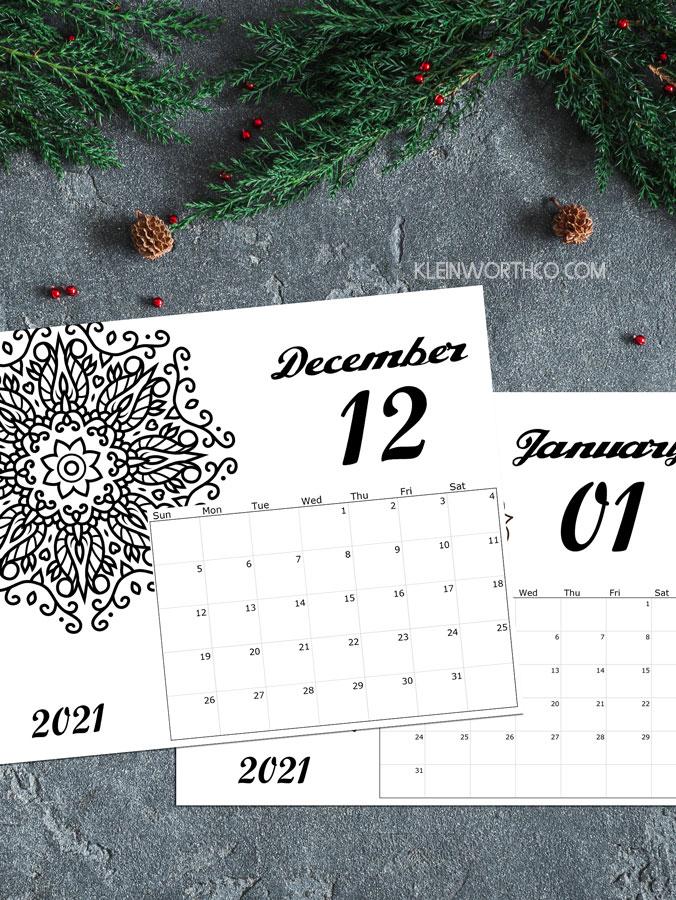 adult coloring calendar free 2021