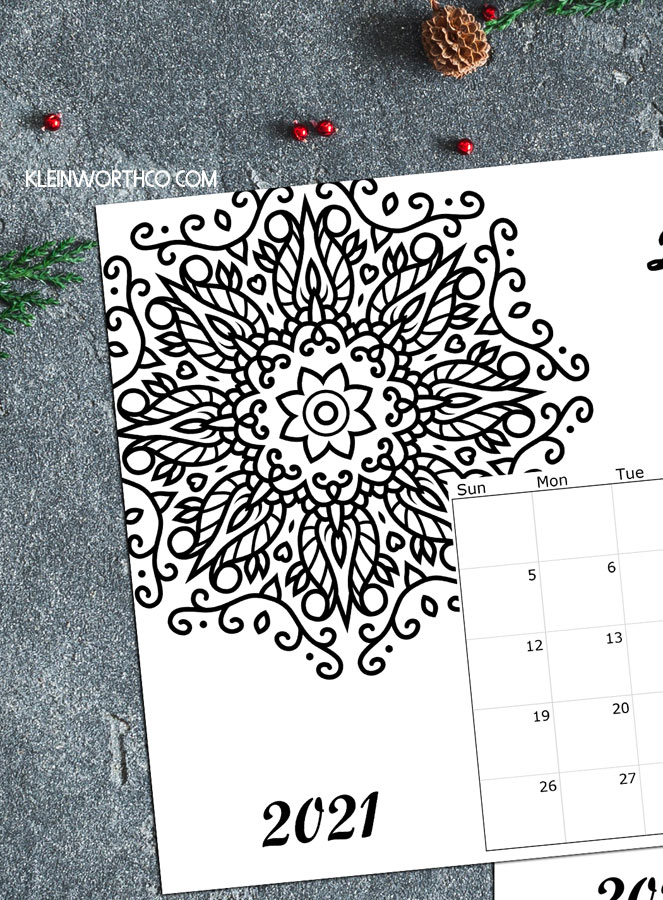 2021 Coloring Page Calendar Printable - Kleinworth & Co