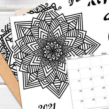 2021 Coloring Page Calendar Printable