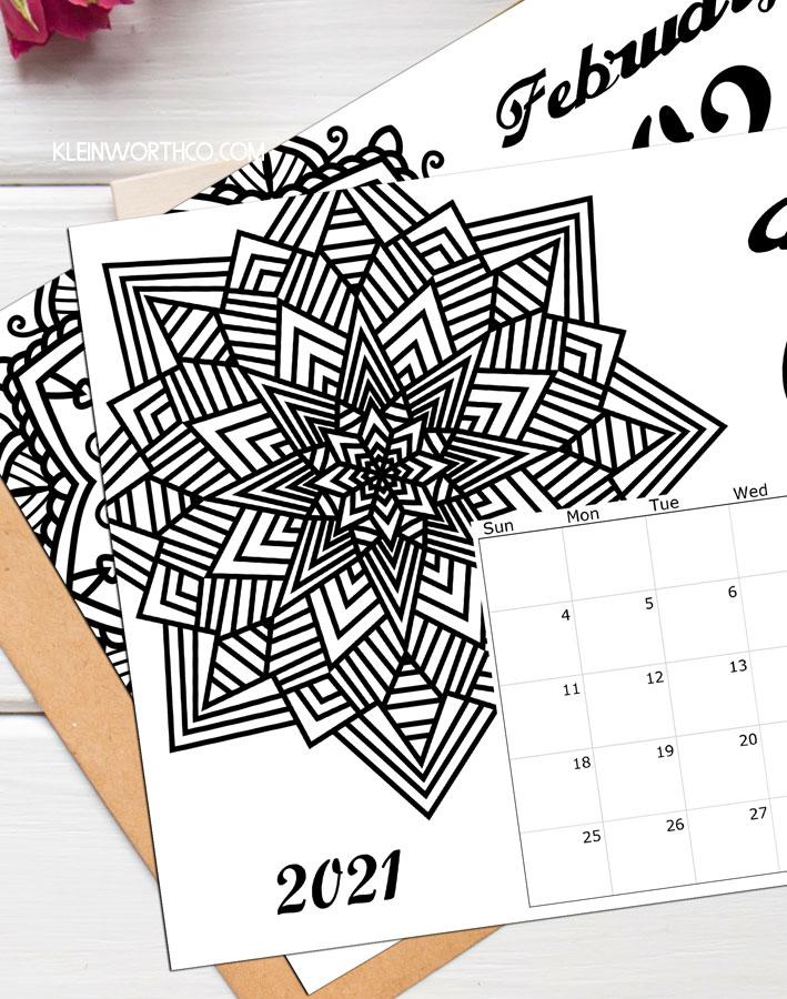 2021 Coloring Page Calendar Printable