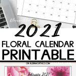 2021 Floral Calendar Printable