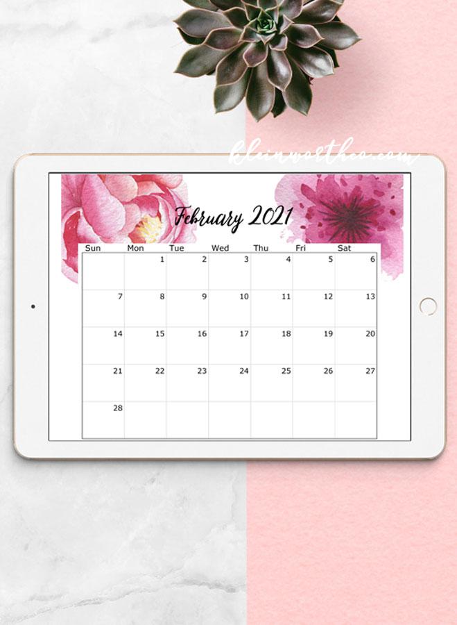 floral calendar on tablet 2021