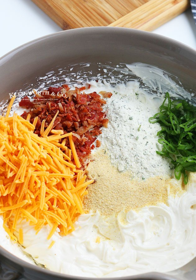adding ingredients for Crack Dip