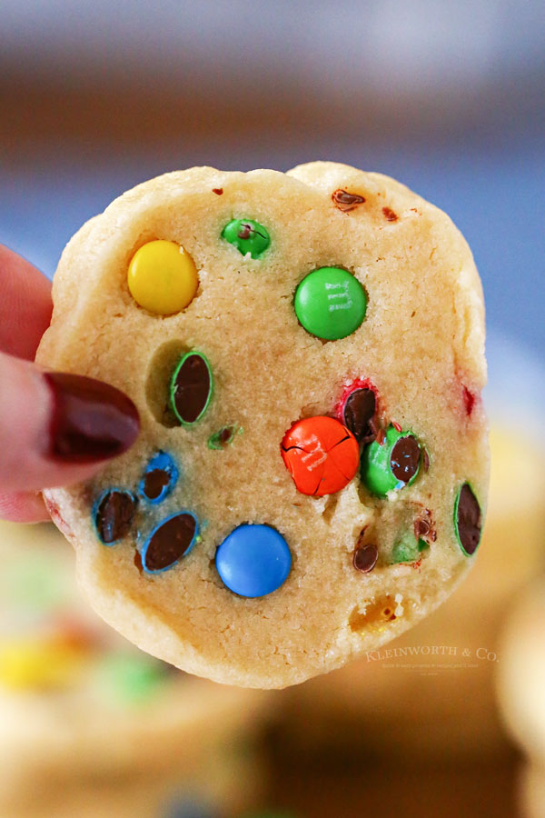 Easy slice and bake cookies with mini M&M's