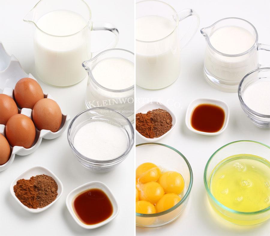 Ingredients to make Non-Alcoholic Eggnog