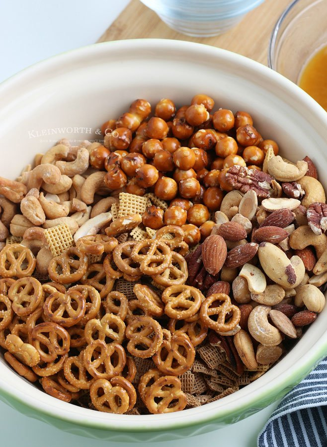 ingredients combined for party snack mix