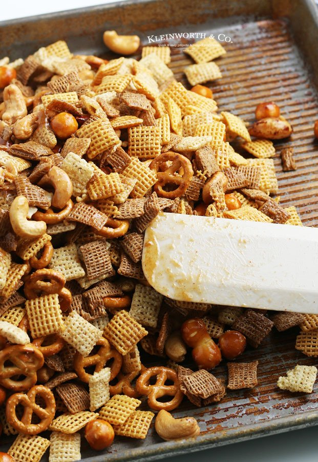party mix on pan