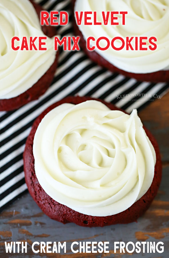 Red Velvet Cake Mix Cookies with cream cheese frosting