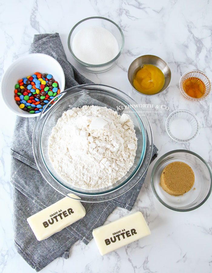 Ingredients for M&M Slice & Bake Cookies