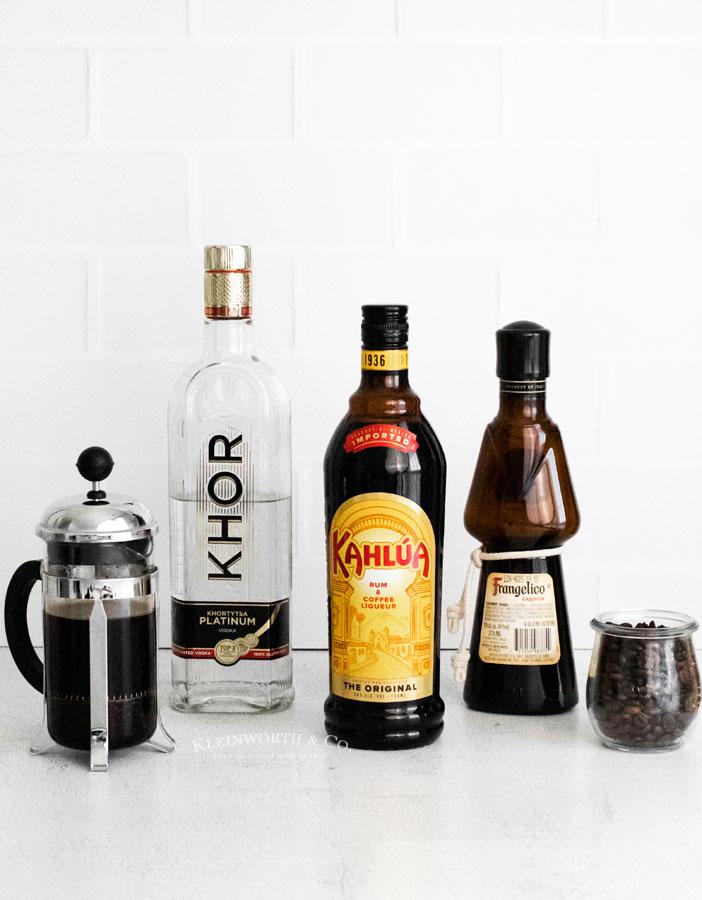 ingredients for Espresso Martini Recipe