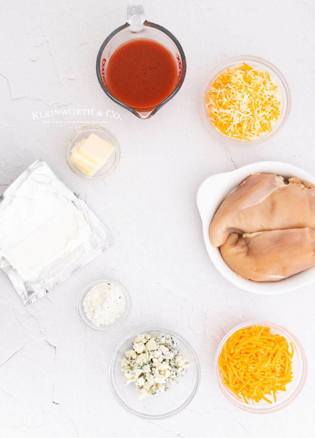ingredients for Instant Pot Buffalo Chicken Dip