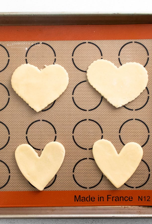 before baking shortbread heart cookies