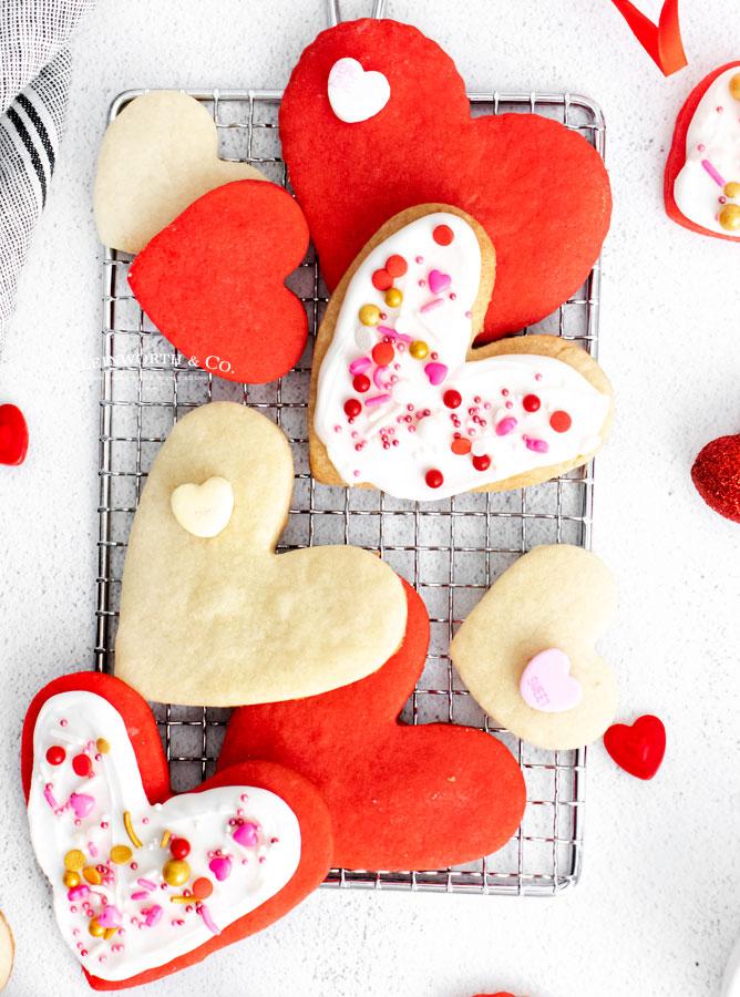Valentine Shortbread Cookies with sprinkles