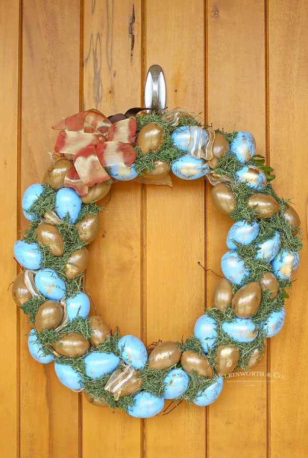 Painted Blue & Gold Easter Wreath