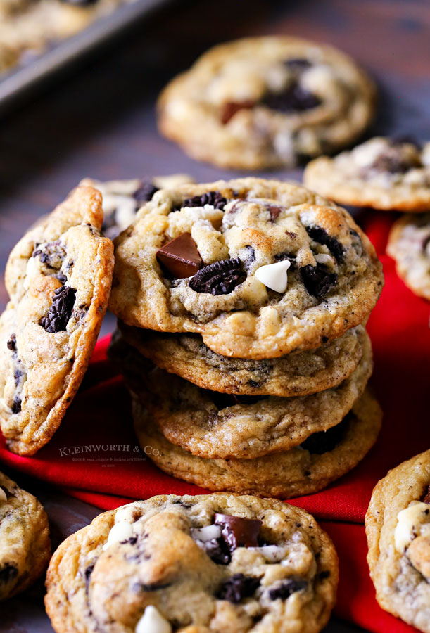 soft and chewy cookies with oreo cookies