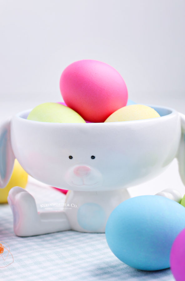 easter eggs in a bunny bowl