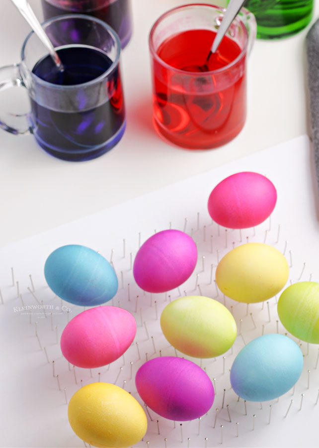 colored easter eggs drying