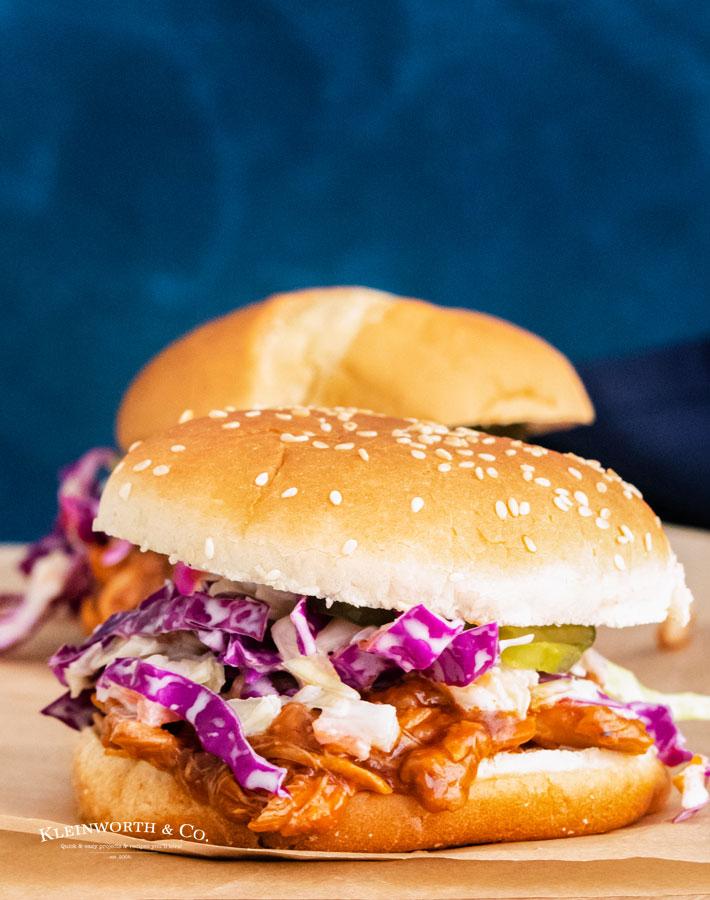 bbq chicken sandwich with coleslaw