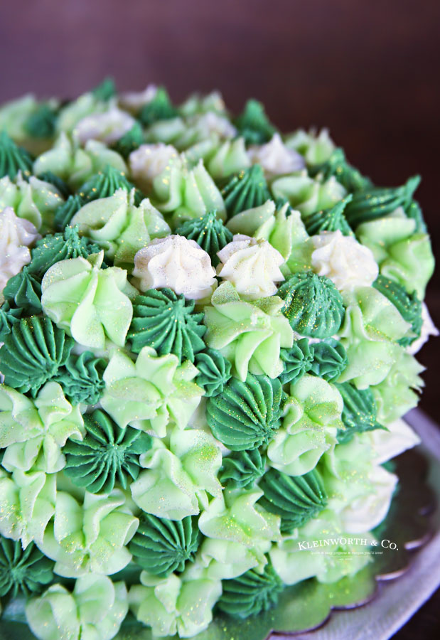 green cake with buttercream frosting