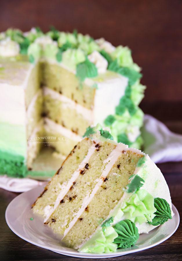slice of mint chocolate cake