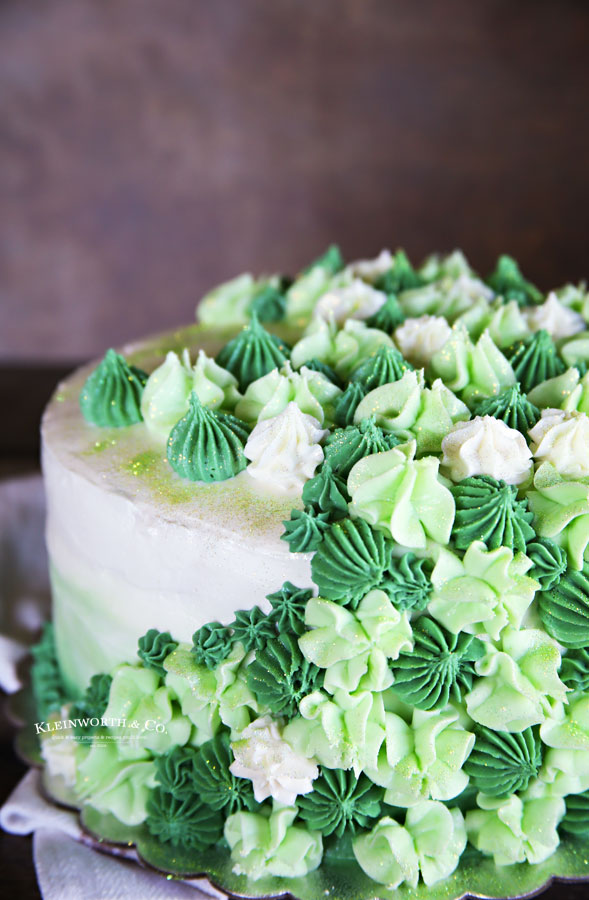 mint cake with green frosting