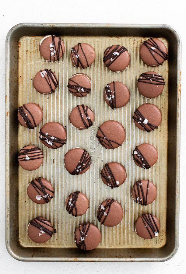 decorated chocolate macarons