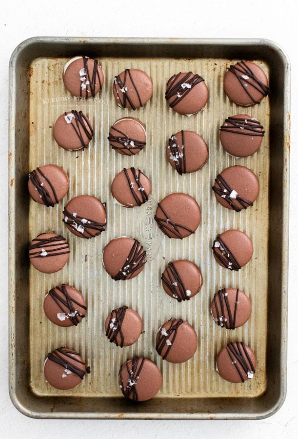 decorated chocolate macarons