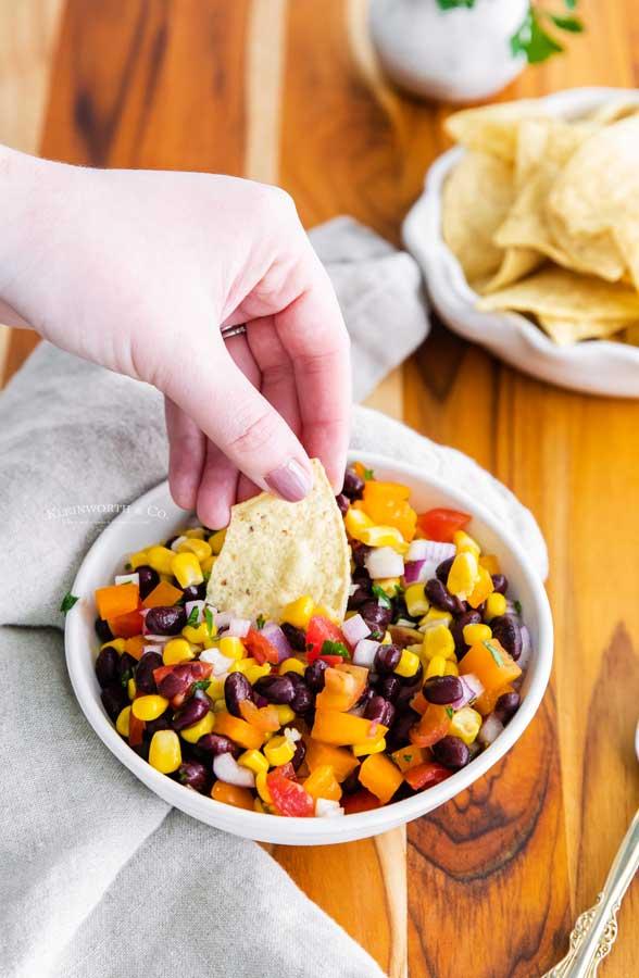 salsa chips beans corn