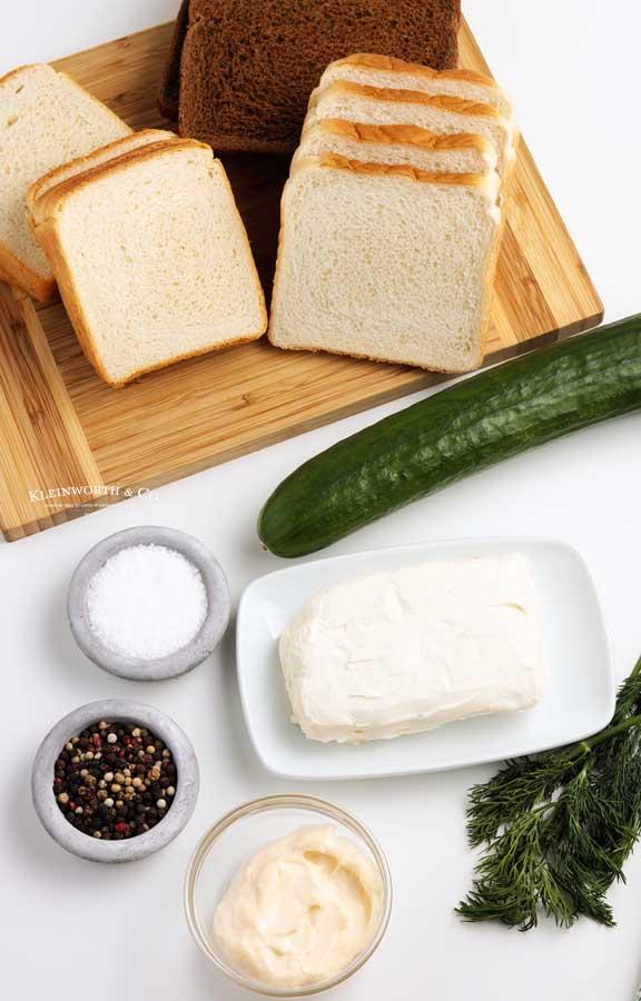 ingredients for Cucumber Sandwich